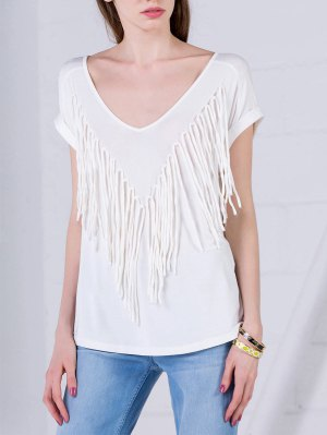 Curled Sleeve Fringed Top - White