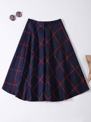 A Line Midi Plaid Skirt - Purplish Blue