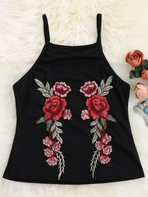 Floral Patch Ribbed Tank Top - Black