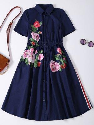 Button Up Sequins Rose Shirt Dress - Cadetblue