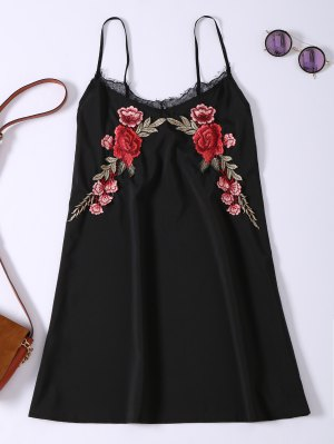 Slip Lace Embroidered Rose Applique Dress - Black