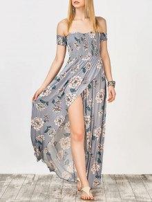 Off The Shoulder Smocked Maxi Dress - Blue Gray