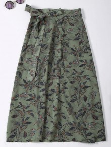 Flower Print High Slit Wrap Skirt - Army Green
