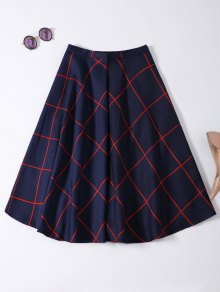 A Line Midi Plaid Skirt - Purplish Blue L
