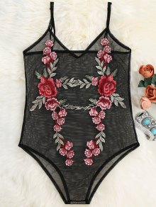 Floral Patch Sheer Mesh Bodysuit - Black