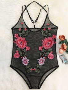 Sheer Mesh Floral Applique Bodysuit - Black
