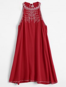 Embroidered Sleeveless Flowing Dress