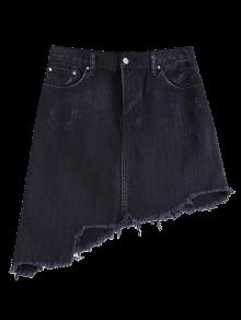 Asymmetric Frayed Hem Denim Skirt - Black