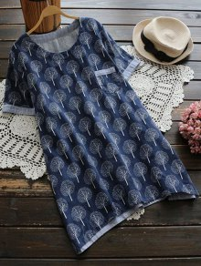 Life Tree Print Pocket Tunic Top - Purplish Blue