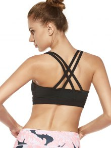 Strappy Crossover Sports Bra - Black