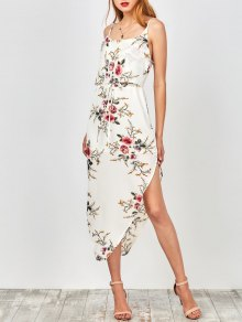 Slip Floral Drawstring Waist Asymmetric Holiday Dress - White