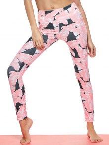 Tropical Leaf Print Sports Leggings - Pink