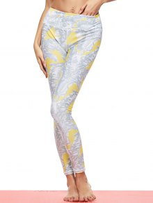 Tropical Leaf Print Sports Leggings - Gray