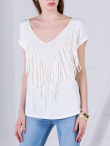Curled Sleeve Fringed Top - White L