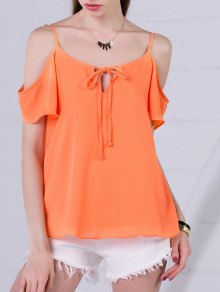 Chiffon Cold Shoulder Top - Orangepink S