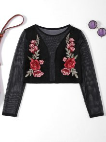 Sheer Mesh floral brodé Crop Top