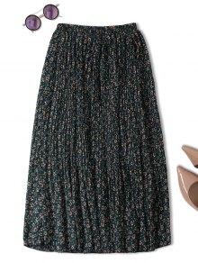 Midi Tiny Floral Pleated Skirt - Blackish Green