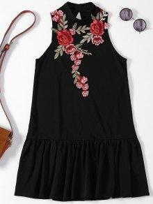 Rose Applique Backless Ruffle Hem Dress - Black