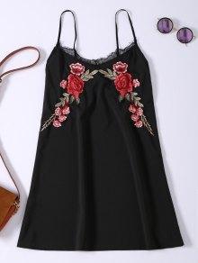 Slip Lace Embroidered Rose Applique Dress - Black