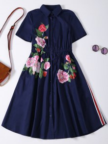 Button Up Sequins Rose Shirt Dress - Cadetblue M