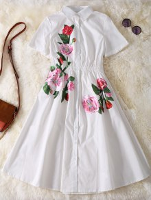 Button Up Sequins Rose Shirt Dress - White M