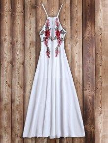 فستان زهري مرقعة ماكسي شاطئ - أبيض S