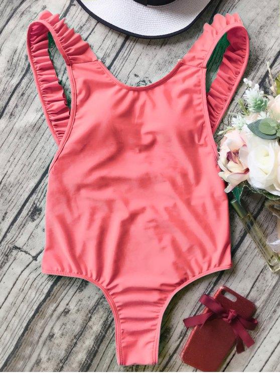 Espalda abierta volante de la correa de baño de una pieza - Naranja Rosa L