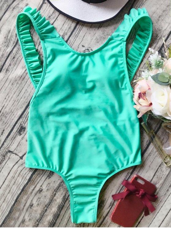 fancy Open Back Ruffle Strap One Piece Swimsuit - GREEN M