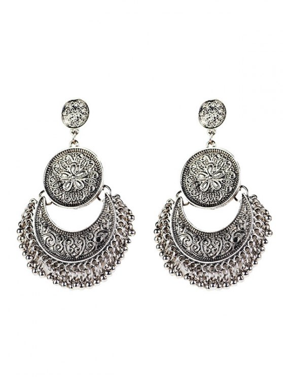 unique Vintage Engraved Flower Beads Moon Earrings - SILVER