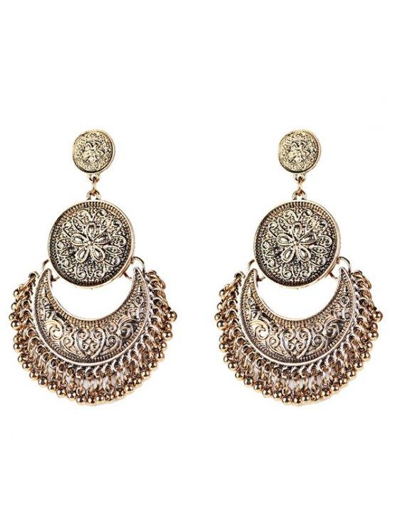 fancy Vintage Engraved Flower Beads Moon Earrings - GOLDEN