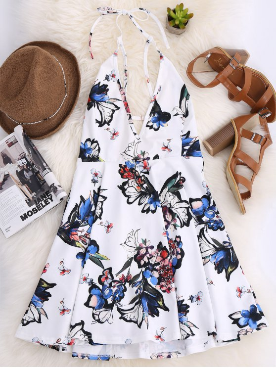 Thin Strap Floral Skater Sun Dress - WHITE 2XL Mobile