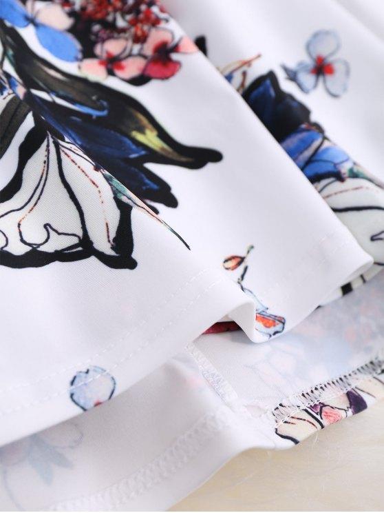 Thin Strap Floral Skater Sun Dress - WHITE M Mobile