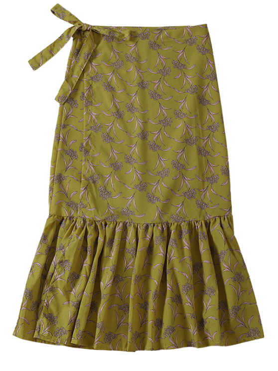 Flower Print Mermaid Wrap Skirt - YELLOW ONE SIZE Mobile