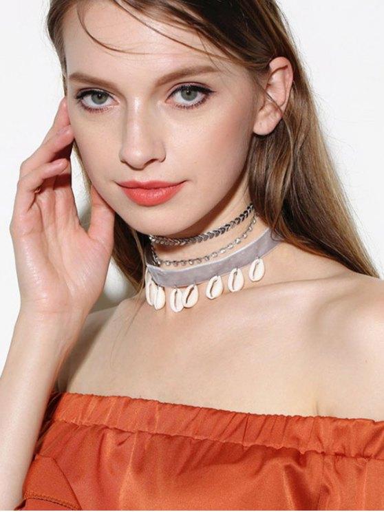 Rhinestoned Conch Velvet Choker Necklace Set - SILVER  Mobile