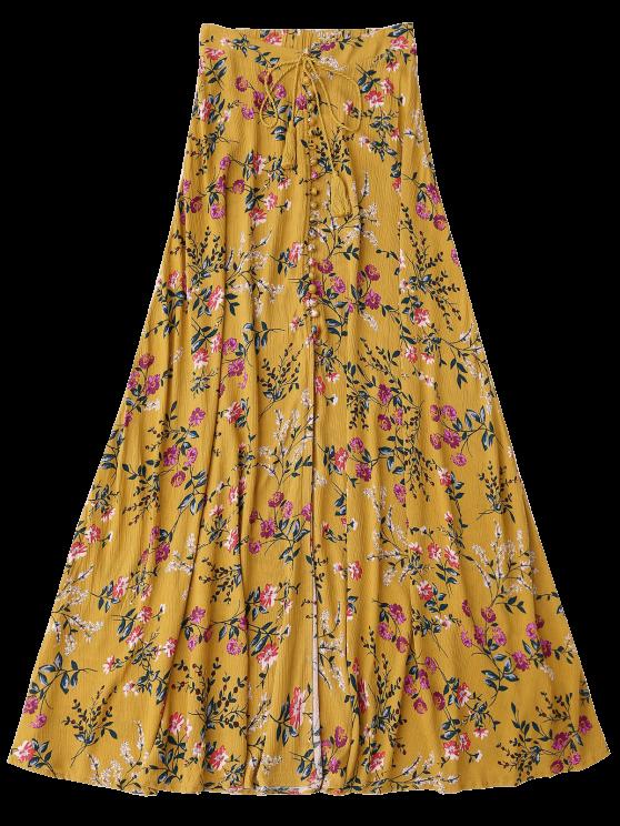 Floral High Slit Maxi Skirt - GINGER S Mobile