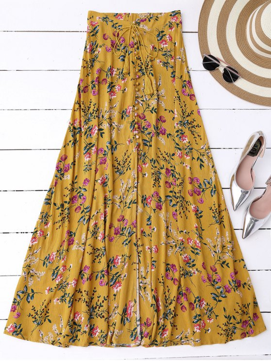 outfit Floral High Slit Maxi Skirt - GINGER S