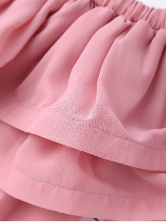 Ruffled Off Shoulder Chiffon Dress - PINK M Mobile