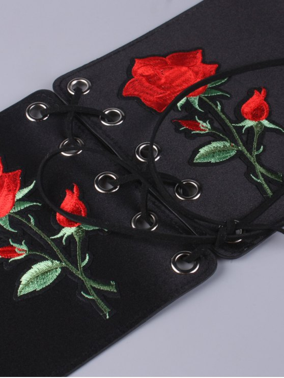 Lace Up Button Embroidered High Waist Corset Belt - BLACK  Mobile