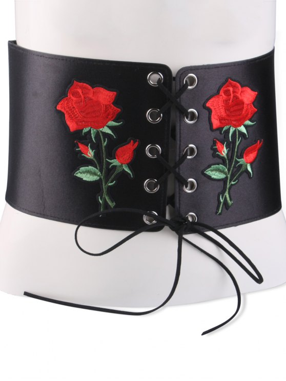shop Lace Up Button Embroidered High Waist Corset Belt - BLACK