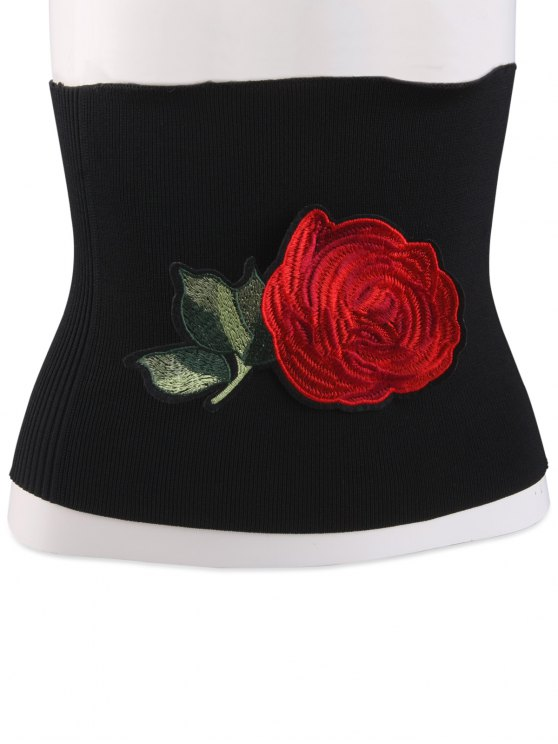 Floral Embroidered Chinoiserie Wide Elastic Corset Belt - BLACK  Mobile