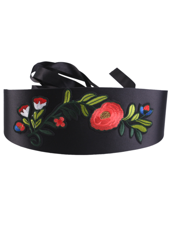 Chinoiserie Flowers Embroidered High Waist Corset Belt - BLACK  Mobile