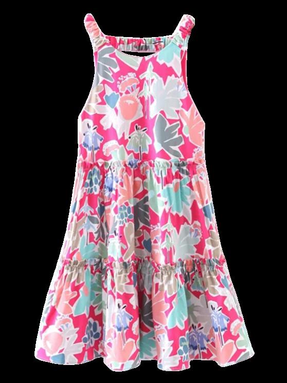 Volantes floral una línea de vestidos - Floral L