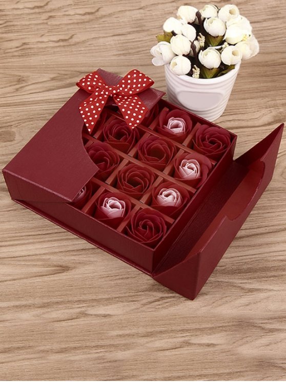 lady 1 Box 16 Grids Artificial Soap Rose Bowknot Mother's Day Gift - BRIGHT RED