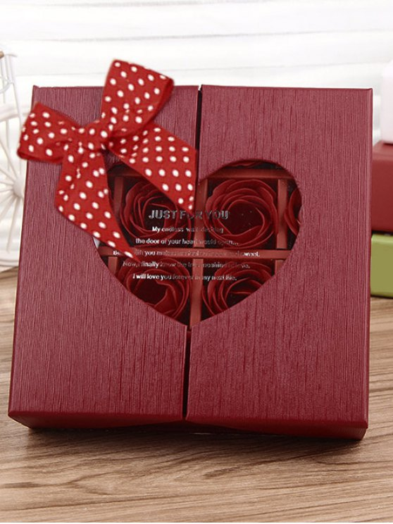 1 Box 16 Grids Artificial Soap Rose Bowknot Mother's Day Gift - BRIGHT RED  Mobile