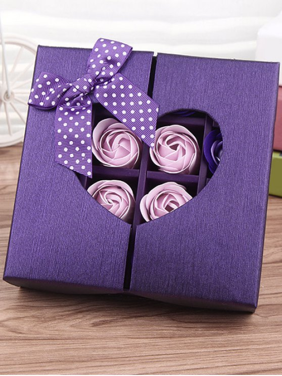 1 Box 16 Grids Artificial Soap Rose Bowknot Mother's Day Gift - VIOLET  Mobile