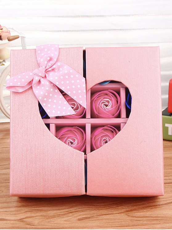 1 Box 16 Grids Artificial Soap Rose Bowknot Mother's Day Gift - PINK  Mobile