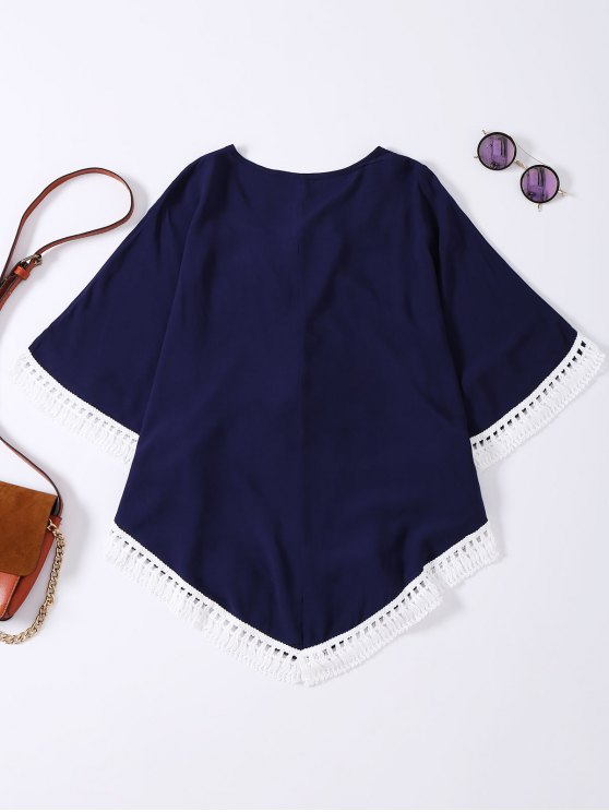 Embroidered Lace Up Batwing Sleeve Top - PURPLISH BLUE ONE SIZE Mobile