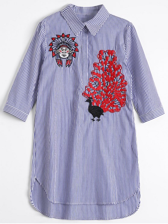 outfits Peacock Embroidered High Low Shirt Dress - BLUE STRIPE M