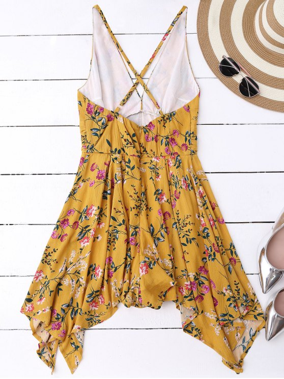Tiny Floral Plunging Neck Romper - YELLOW L Mobile