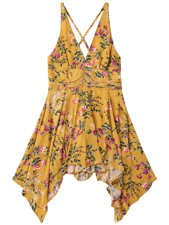 Tiny Floral Plunging Neck Romper - YELLOW M Mobile